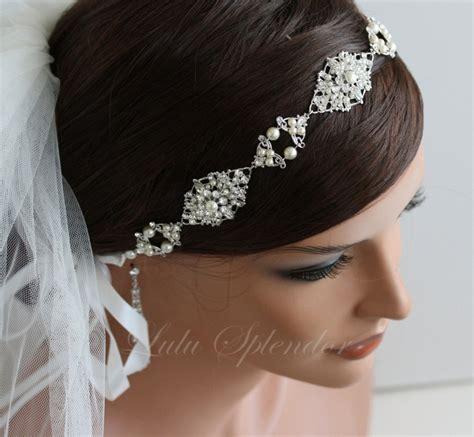 Wedding Hair Accessories Ribbon Headband by Pearl Bridal Headband Headpiece Wedding Hair Accessories