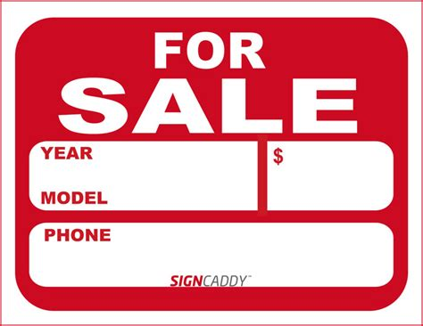 For Sale Template 7 best images of free printable signs for sale auto car