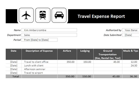 travel expense report template microsoft excel templates