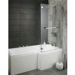 Bath And Shower Lily Heavy Duty 1700mm L Shaped Shower Bath With Glass