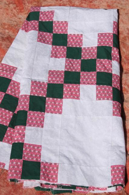 Country Patchwork Quilts For Sale - 80s vintage patchwork quilt top country primitive colors
