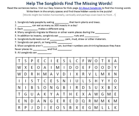 song bird science facts worksheet image easy science for