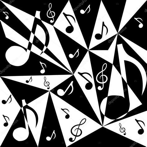 imagenes en blanco y negro de notas musicales fondo abstracto de vector con notas musicales en blanco y