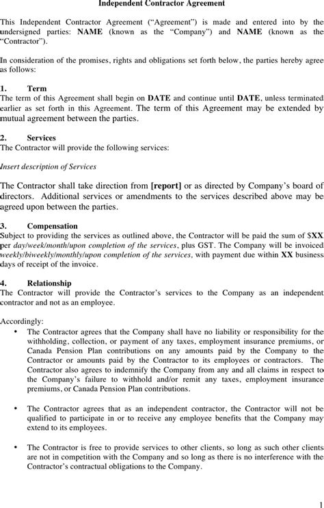 independent consultant agreement template independent contractor agreement template free