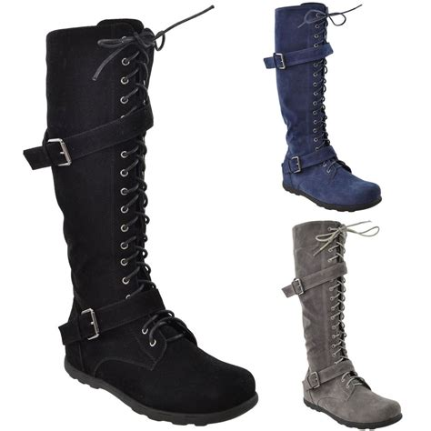 knee high shoes for womens flat knee high boots lace up suede buckles comfort