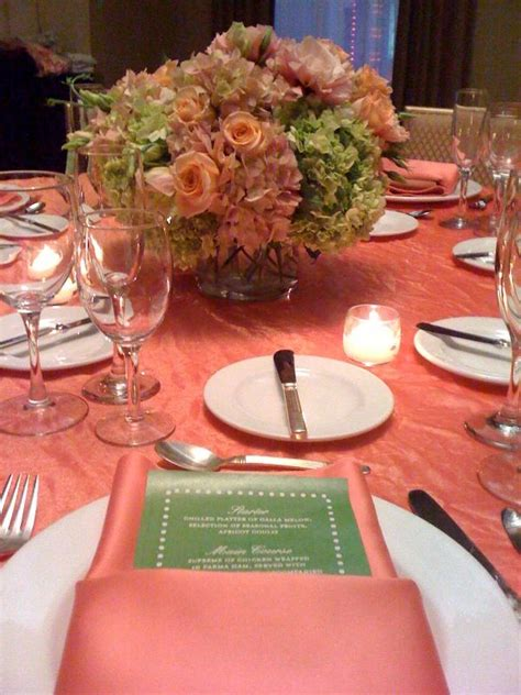 simply lovely table coarl pink and green table 153 best coral wedding inspiration images on pinterest