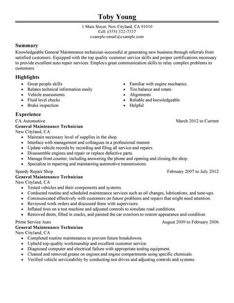 maintenance technician resume exles general maintenance technician resume exle automotive