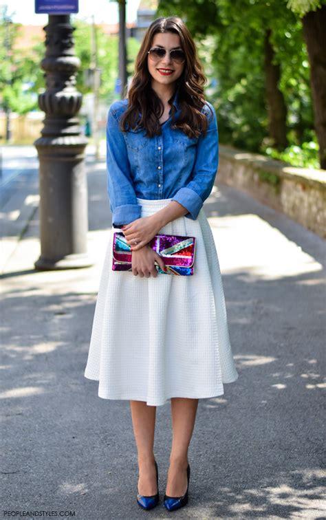 how to wear white midi skirt styles