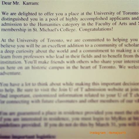 Acceptance Letter Of Toronto 11 Awesome College Acceptance Letters Shared In Instagram