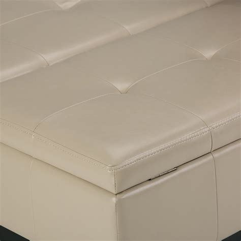 cream leather ottoman coffee table faux leather coffee table storage ottoman in cream axcot