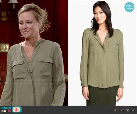Sharhorn Green Blouse h m khaki blouse chevron blouse