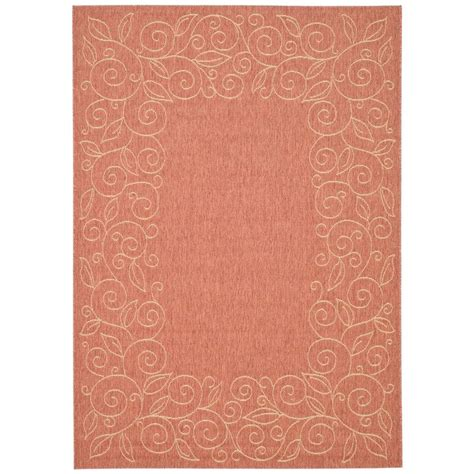 Safavieh Courtyard Terracotta Beige 8 Ft X 11 Ft Indoor Outdoor Rugs Home Depot