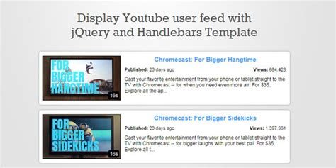 handlebars template tutorial js tutorial youtubars display user feed