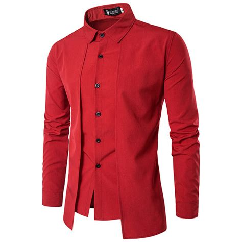 design a dress shirt uk designer fake two pieces simple style casual fashion