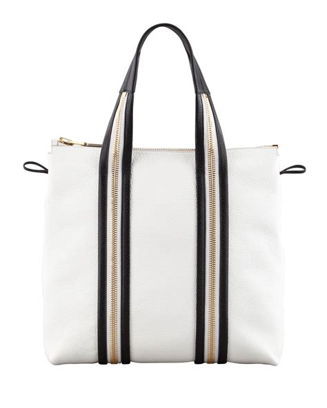 7886 Black White Tote Bag tom ford pebbled leather medium tote bag in white lyst