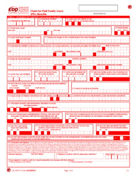 california state disability benefits table edd extension claim form