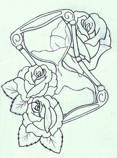hourglass and rose sketch design for tattoo tattoomagz