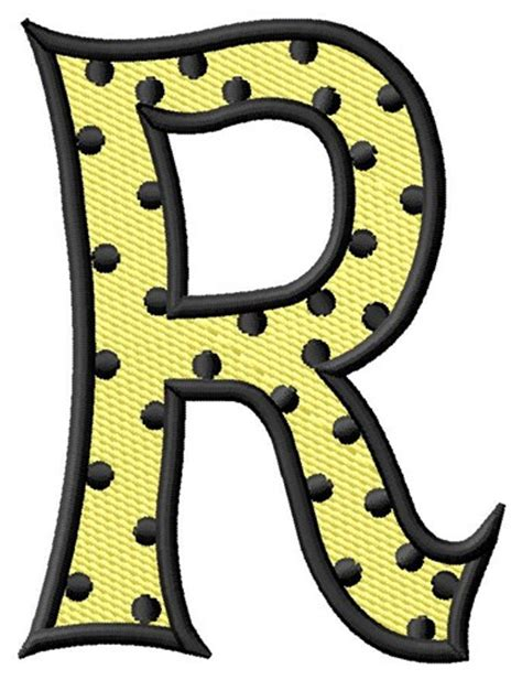 polka dot letter r embroidery design text and shapes