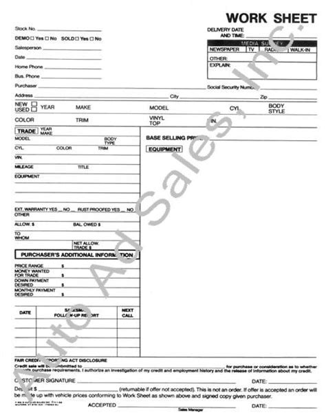 Sales Work Sheets Car Sales Worksheet Template