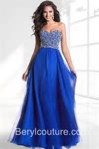 a line strapless sweetheart neckline royal blue chiffon