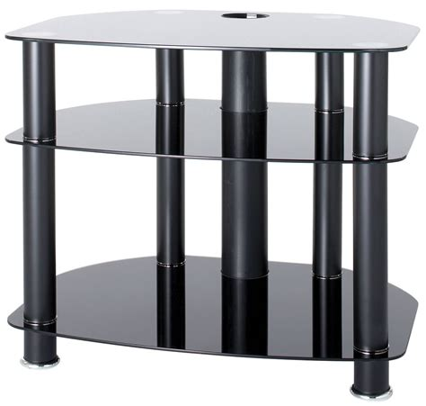 stand up l with shelves alphason black glass tv stand for up to 26 quot tvs