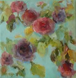 Flower Acrylic Painting - impressionist floral painting by mary wolf