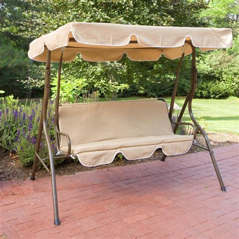 lawn swing 2 person covered patio swing w adjustable tilt canopy