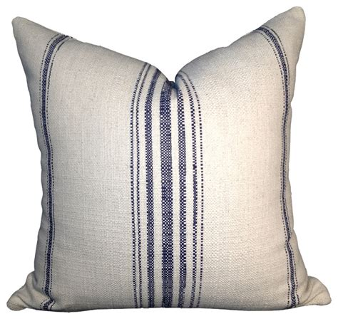 Cotton off white pillow cover with navy blue stripes beach style decorative pillows by