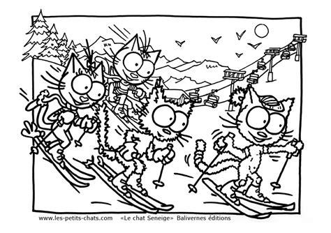 Coloriage Le Chat Seneige Qui Fait Du Ski Avec Ses Copains Coloriage De Chat A Imprimer Gratuit L