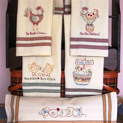 embroidery designs for kitchen towels tea towels with whimsical chicken designs to machine embroider on striped tea towels