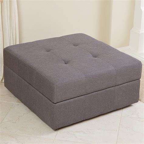 Grey Fabric Storage Ottoman Eureka Grey Fabric Storage Ottoman Gdf Studio