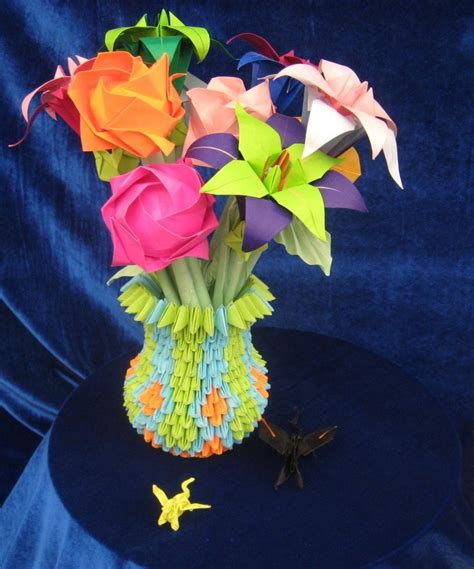 Origami Paintings - origami flower vase and flower by landon104 on deviantart