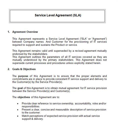 sample service level agreement templates   word pages