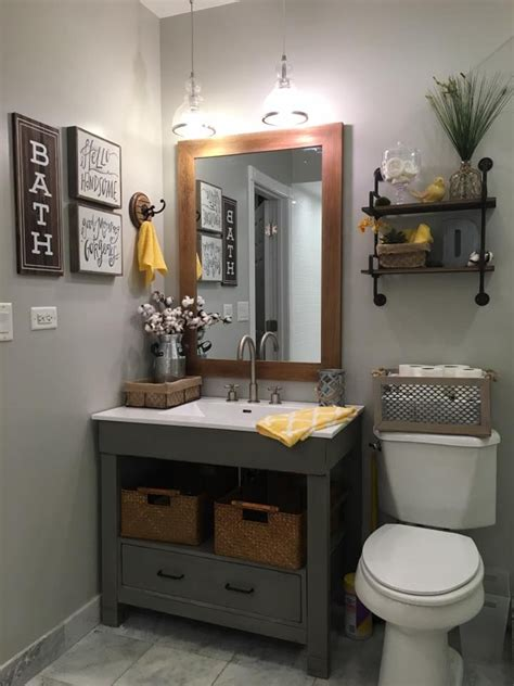 Grey Bathroom Decor Repose Gray Sw Walls And Rust Oleum Chalked Country Gray Vanity Signs And Shelving From Hobby