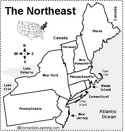 northeastern states map/quiz printout enchantedlearning.com