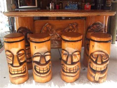 Tiki Bar Polynesian Tiki Bar Stools Tiki Bars Stools And Bar Stools