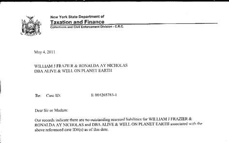 Finance Department Letter No 40545 ronalda ay nicholas invalid tax warrant invalid tax
