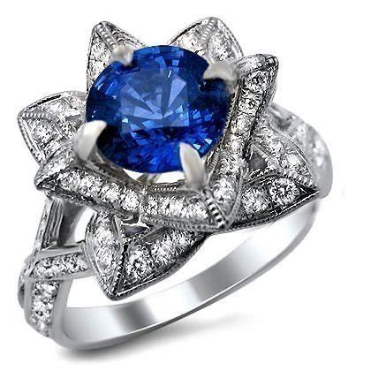 Blue Sapphire 6 15ct 2 15ct blue sapphire lotus flower ring 14k