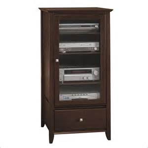 Audio Rack Cabinet Bush Furniture Sonoma Collection Mocha Cherry Audio Rack