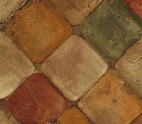 Wallpaper Faux Tumbled Tuscan Tiles Tan, Rust & Green