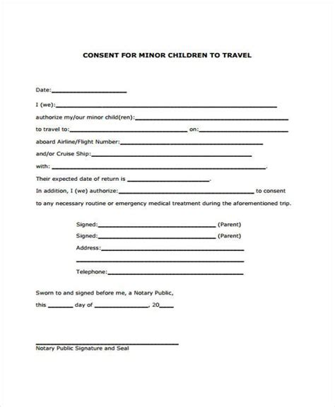 doc 728943 letter of consent for travel of a minor child