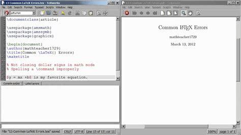 latex tutorial new line latex tutorial 13 two common latex errors youtube