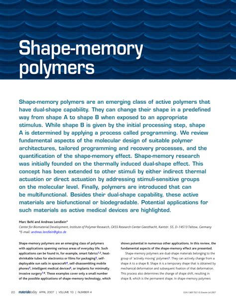 shape memory shape memory polymers pdf download available