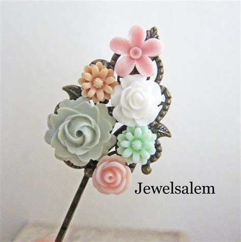 Vintage Bridesmaid Hair Accessories by Pink And Mint Green Hair Clip Bridal Flower Hair Pin