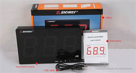 Digital Sound Level Meter Sndway Sw 523 30 130 Db 101 95 sndway sw 526a wall mounted digital noise sound