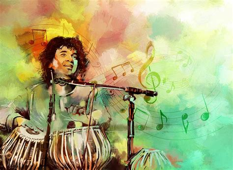 Musical Duvet Covers Zakir Hussain Painting By Catf