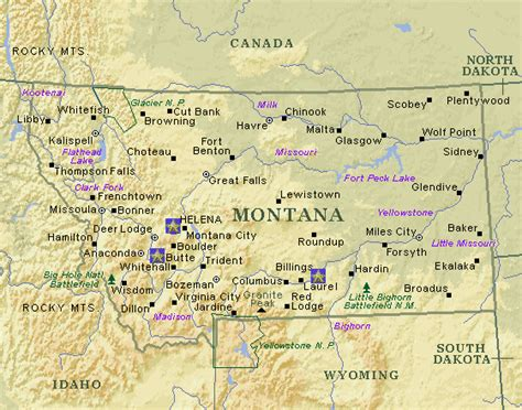 montana map with cities map of montana cities images
