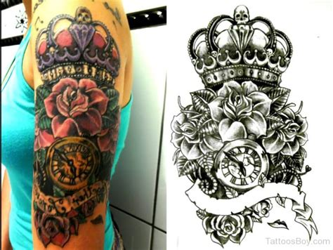 crown with roses tattoo crown tattoos designs pictures page 2