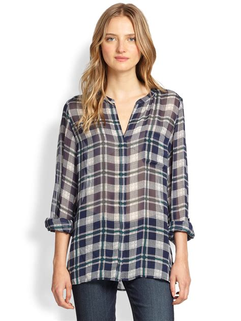 Tartan Knot Blouse 1 lyst joie nura sheer plaid silk blouse in blue