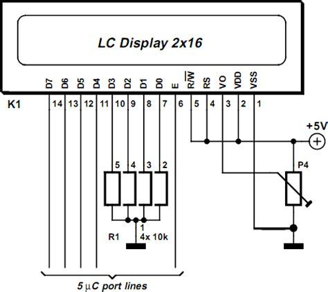 16x2 lcd pin diagram simple lcd module in 4 bit mode electronic circuits diagram